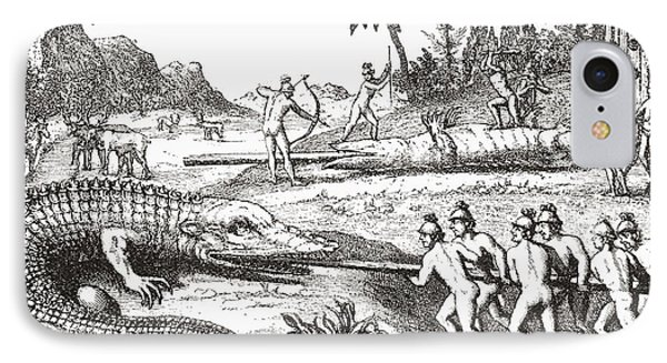 Hunting Alligators In The Southern States Of America IPhone Case by Theodor de Bry