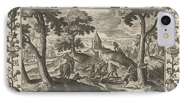 Hunting Wolves, Adriaen Collaert, Eduwart Hoes Winckel IPhone Case