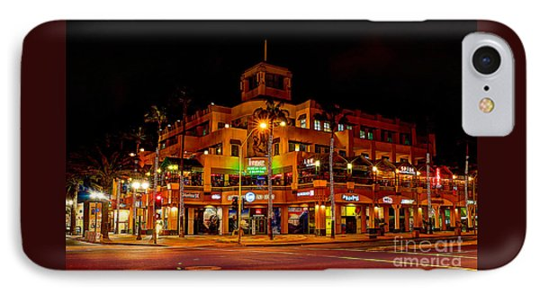 IPhone Case featuring the photograph Huntington Beach Downtown Nightside 1 by Jim Carrell