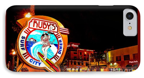 IPhone Case featuring the photograph Huntington Beach Downtown Nightside 2 by Jim Carrell