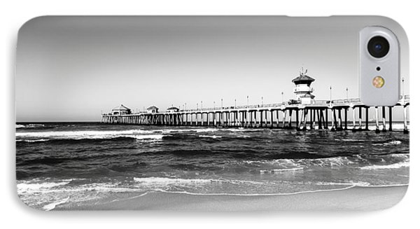 Huntington Beach Pier Black And White Picture Phone Case by Paul Velgos