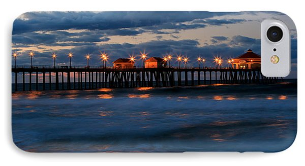 Huntington Beach Pier Lights  IPhone Case by Duncan Selby