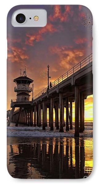 Huntington Beach Pier Phone Case by Peggy Hughes
