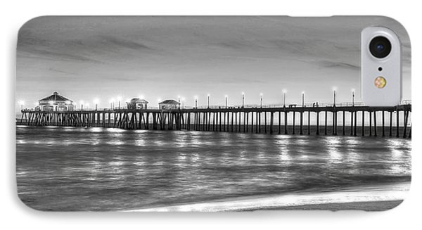 IPhone Case featuring the photograph Huntington Beach Pier Twilight - Black And White by Jim Carrell