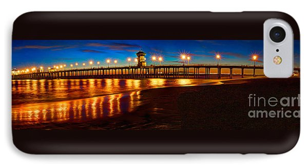 Huntington Beach Pier Twilight Panoramic Phone Case by Jim Carrell