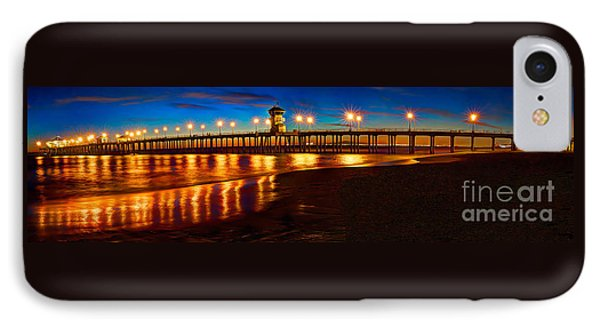 IPhone Case featuring the photograph Huntington Beach Pier Twilight Panoramic by Jim Carrell