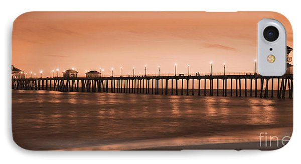 Huntington Beach Pier - Twilight Sepia Phone Case by Jim Carrell