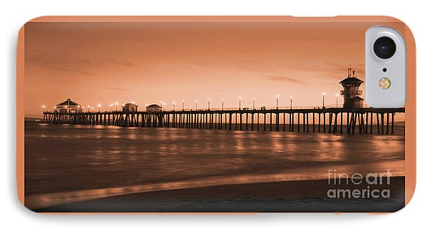 Huntington Beach Pier - Twilight Sepia IPhone Case by Jim Carrell