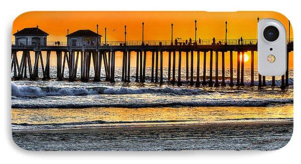 Huntington Beach Sunset Phone Case by Jim Carrell