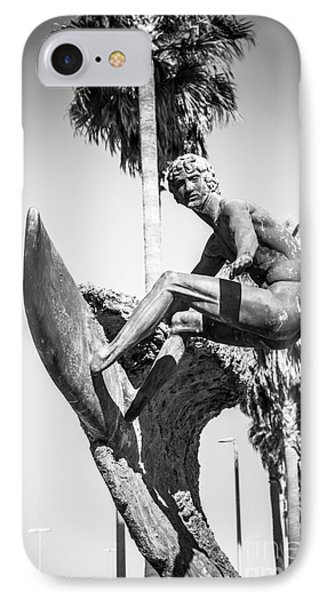 Huntington Beach Surfer Statue Black And White Picture Phone Case by Paul Velgos