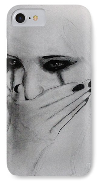 IPhone Case featuring the drawing Hurt by Michael Cross