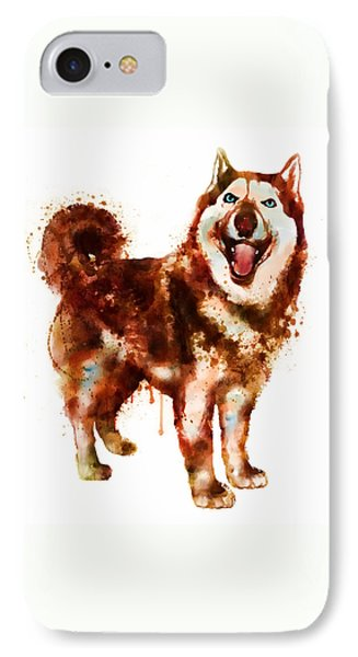 Husky Dog Watercolor IPhone Case by Marian Voicu