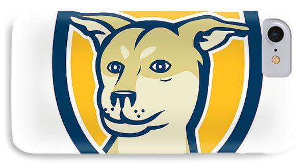 Husky Shar Pei Cross Dog Head Shield Cartoon IPhone Case by Aloysius Patrimonio