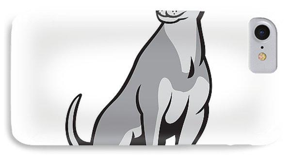 Husky Shar Pei Cross Dog Sitting Cartoon IPhone Case by Aloysius Patrimonio
