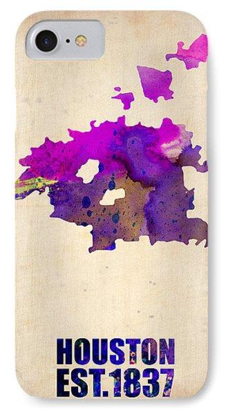 Huston Watercolor Map Phone Case by Naxart Studio