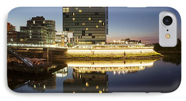 Hyatt Hotel At Dusk, Media Harbour IPhone Case by Panoramic Images