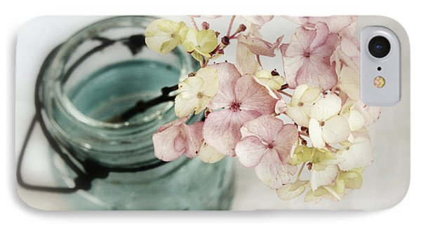 IPhone Case featuring the photograph Hydrangea In Vintage Robin's Egg Jar by Brooke T Ryan