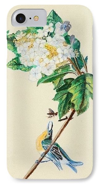 Hydrangea With Yellow Breasted  Vireo After Audubon IPhone Case