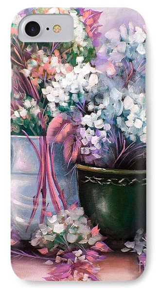 IPhone Case featuring the painting Hydrangeas Still Life Pink by Patrice Torrillo