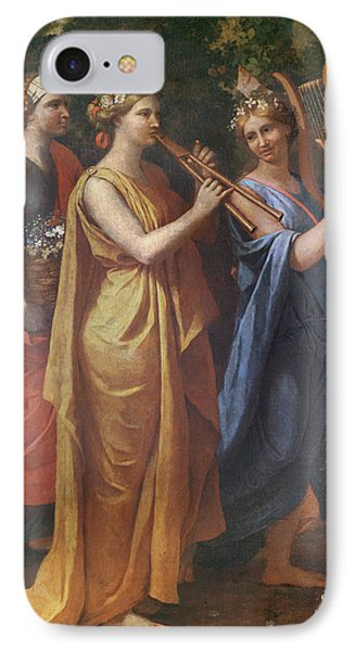 Hymenaios Disguised As A Woman During An Offering To Priapus, Detail Of The Musicians, C.1634-38 IPhone Case by Nicolas Poussin