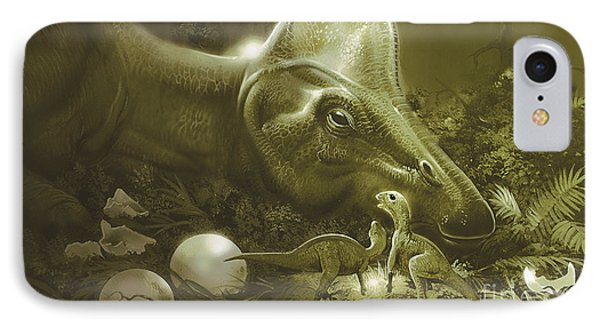 Hypacrosaurus Protecting Its Nest IPhone Case by Jan Sovak