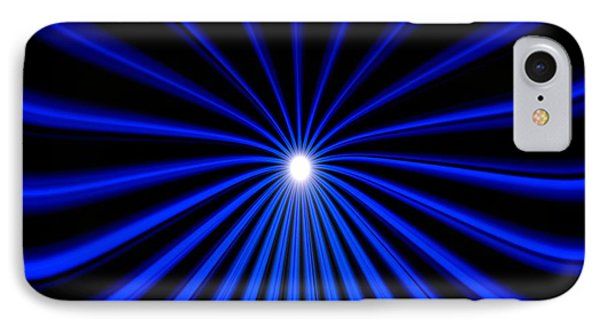 IPhone Case featuring the painting Hyperspace Blue Landscape by Pet Serrano