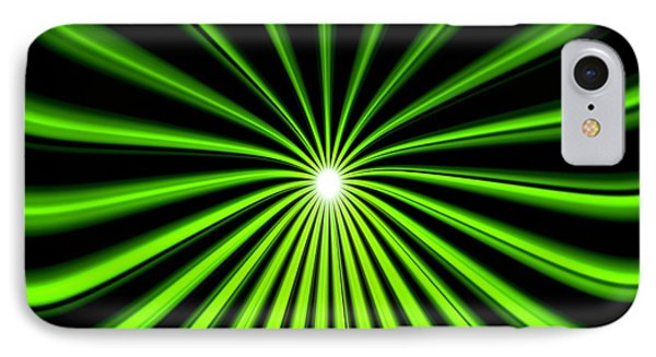 IPhone Case featuring the painting Hyperspace Electric Green Square by Pet Serrano