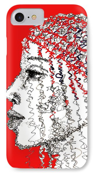 IPhone Case featuring the drawing I Am Not Afraid by Sladjana Lazarevic