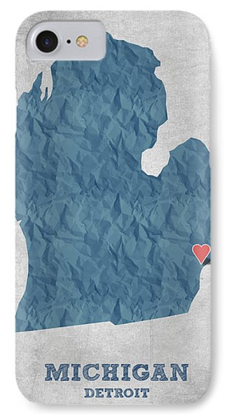 I Love Detroit Michigan - Blue IPhone Case by Aged Pixel
