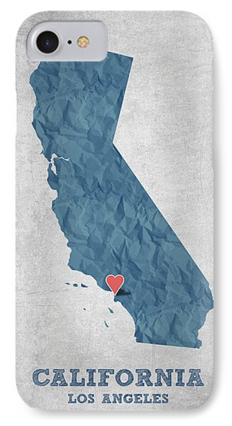 I Love Los Angeles California - Blue IPhone Case by Aged Pixel