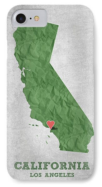I Love Los Angeles California - Green IPhone Case by Aged Pixel