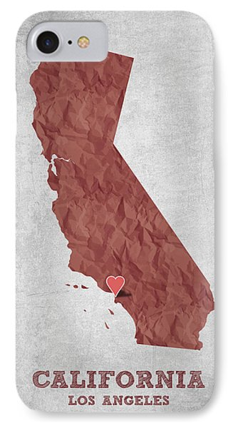I Love Los Angeles California - Red IPhone Case by Aged Pixel