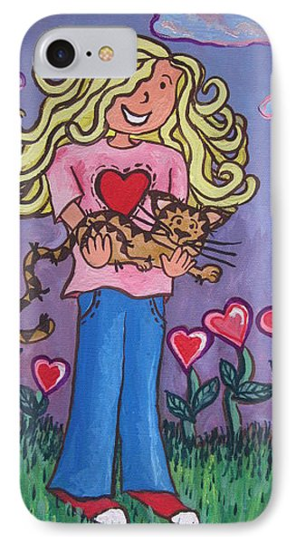 I Love My Cat Phone Case by Cherie Sexsmith