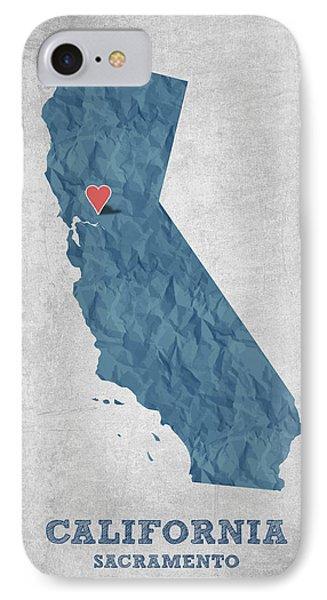 I Love Sacramento California - Blue IPhone Case by Aged Pixel