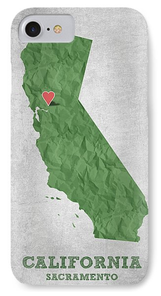 I Love Sacramento California - Green IPhone Case by Aged Pixel