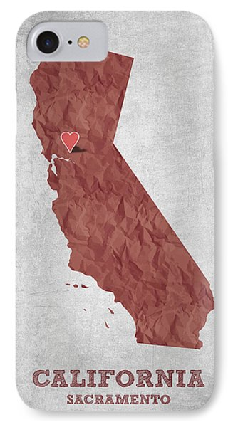 I Love Sacramento California - Red IPhone Case by Aged Pixel