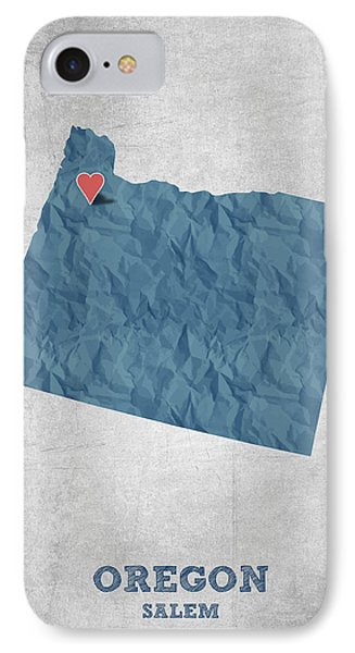 I Love Salem Oregon- Blue IPhone Case by Aged Pixel