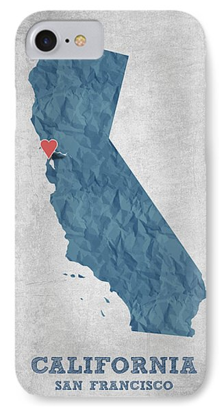 I Love San Francisco California - Blue IPhone Case by Aged Pixel