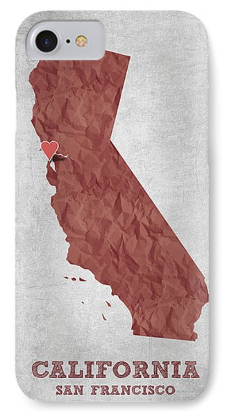 I Love San Francisco California - Red IPhone Case by Aged Pixel