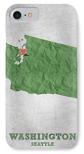 I Love Seattle Washington- Green IPhone Case