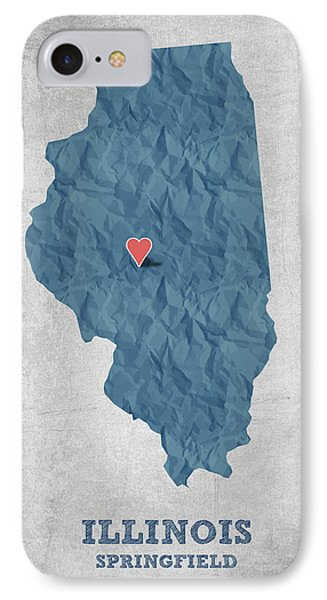 I Love Springfield Illinois - Blue IPhone Case by Aged Pixel