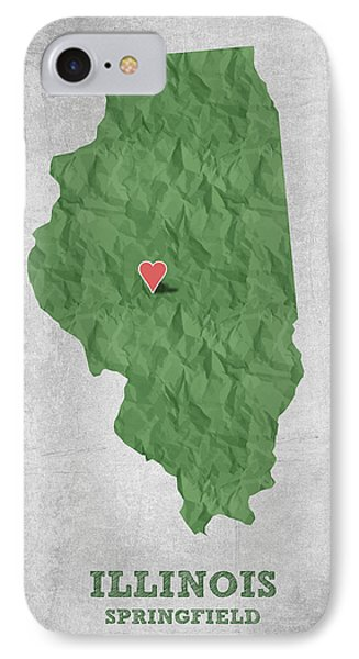 I Love Springfield Illinois - Green IPhone Case by Aged Pixel