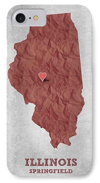I Love Springfield Illinois - Red IPhone Case by Aged Pixel
