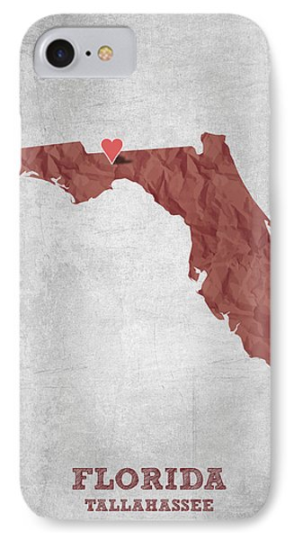 I Love Tallahassee Florida - Red IPhone Case by Aged Pixel