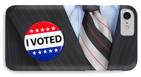 I Voted Pin On Lapel IPhone Case by Joe Belanger