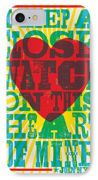 I Walk The Line - Johnny Cash Lyric Poster IPhone 7 Case