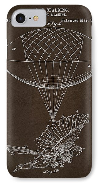 IPhone Case featuring the drawing Icarus Airborn Patent Artwork Espresso by Nikki Marie Smith