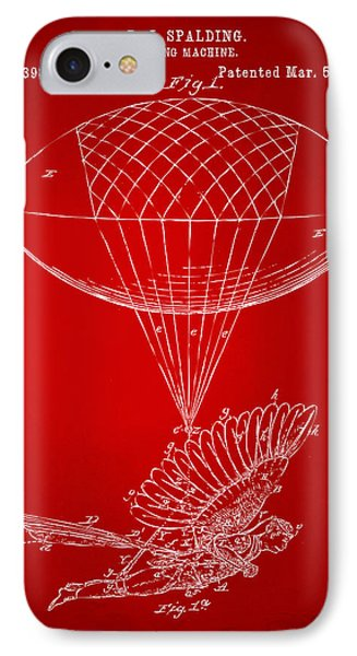 Icarus Airborn Patent Artwork Red IPhone Case by Nikki Marie Smith