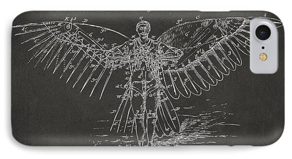 Icarus Flying Machine Patent Artwork Gray IPhone Case by Nikki Marie Smith