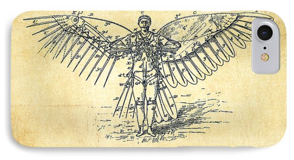 Icarus Flying Machine Patent Drawing-vintage IPhone Case by Aged Pixel